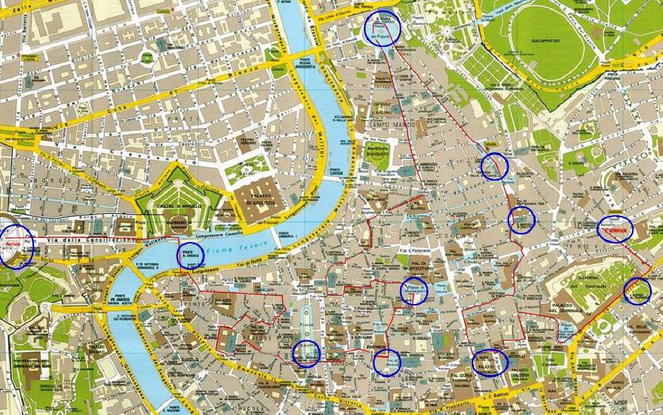 Roma Centro Cartina.Centro Storico Di Roma In Bici